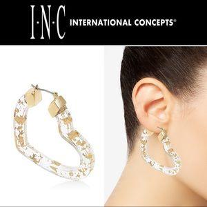 """🆕❤️ Glitter Heart Hoop Earrings 2"""" Clear/Gold"""